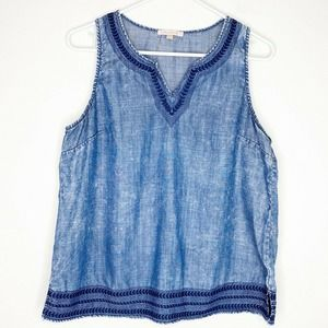 Skies Are Blue Chambray Embroidered Sleeveless Top